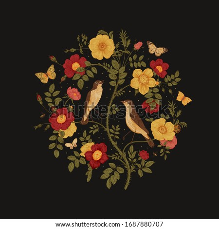 Birds and butterflies are in wild roses. Round Vector vintage classic floral composition. Summer night