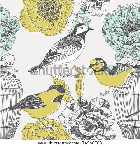 birds and cages. pattern design