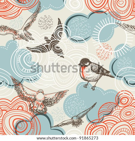 Birds and clouds seamless pattern