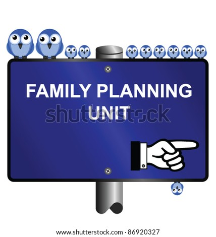 Birds and family planning sign isolated on white background