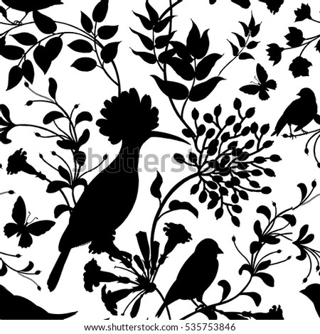 Birds and flowers vector illustration. Unusual motives of nature oriental style. Seamless pattern with image of animals and plants for design of fabrics, paper. Vintage art. Black on white background.