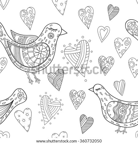 birds and hearts doodle