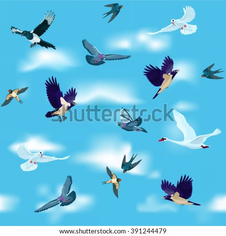 birds are flying in the sky as