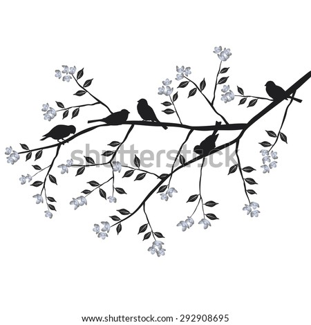 how to draw a bird sitting on a branch