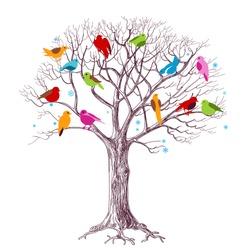 Birds Christmas tree, joy in the woods vector illustration