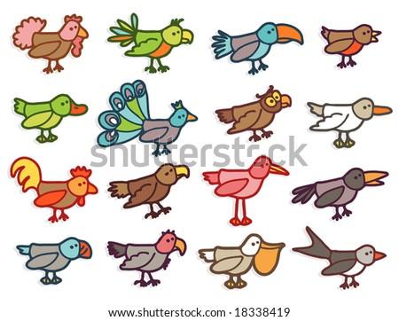 birds - colors - stock vector