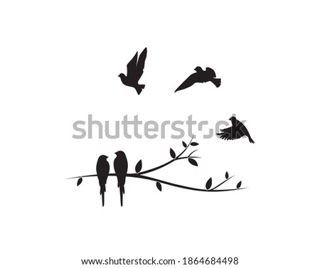 Birds couple silhouette on a branch and flying birds flock, vector. Birds in love, illustration. Wall decals, art decoration, wall artwork. Birds silhouette on branch isolated on white background