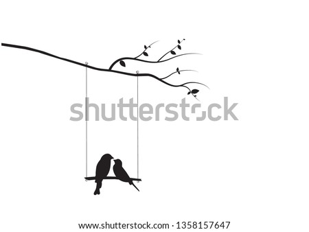 Birds Couple Silhouette Vector, Birds on swing on branch, Wall Decals, Birds in love, Wall Art, Art Decor. Birds Silhouette isolated on white background. Romance in nature, romantic