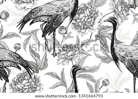Birds cranes and flowers peonies. Floral seamless pattern for design paper, wallpaper, textile. Vector illustration of nature. Vintage. Hand drawing of wildlife. Oriental style. Black and white.