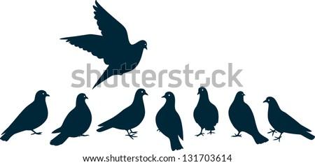 Birds Dove - stock vector