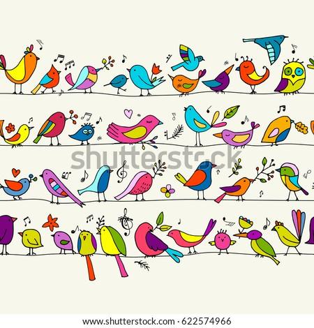 birds family  seamless pattern...