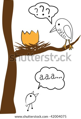 Birds family. Vector.