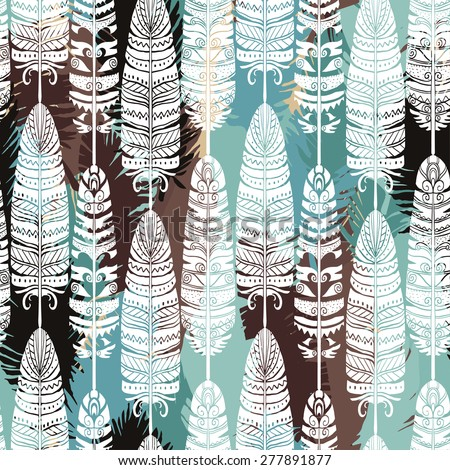 Birds feathers boho seamless pattern. Tribal art ethnic repeating background texture. Clothing design, wallpaper, wrapping