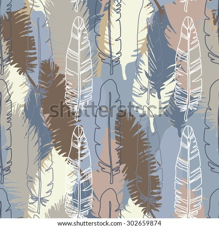 Birds feathers seamless pattern. Colorful print, animal repeating background texture. Cloth design, wallpaper, wrapping