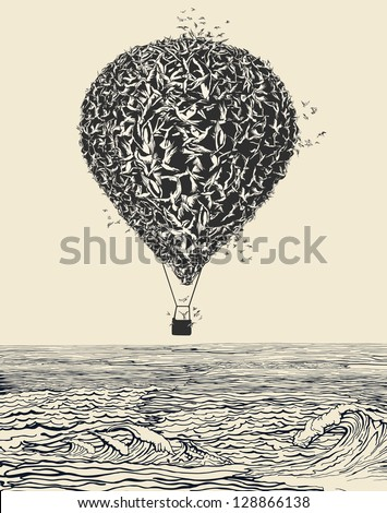 Birds flock in balloon formation flying over the sea