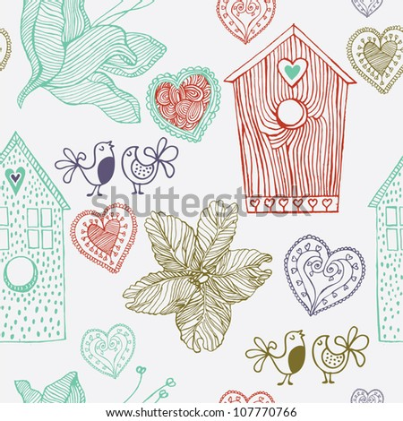 Birds flowers and houses, seamless  background