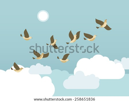 Birds flying in the blue sky with clouds and sun. Vector illustration.