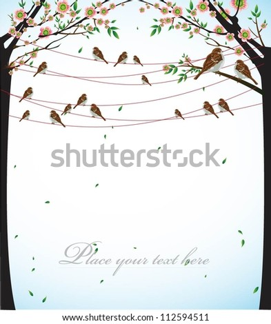 birds hanging and birdcages with space for text