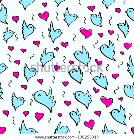 birds heart fly group element color sketch seamless pattern background blue white