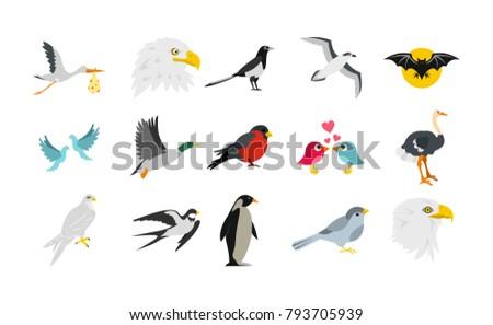 birds icon set flat set of