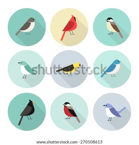 birds icon set vector