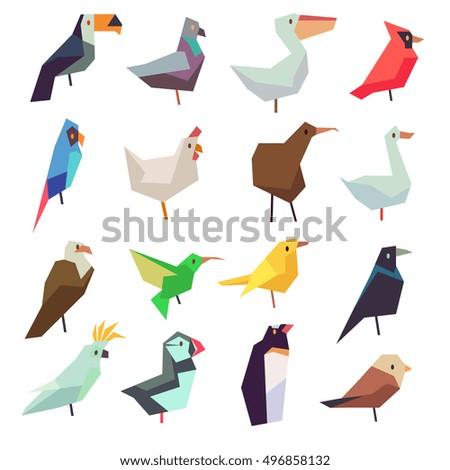 birds in flat style vector...