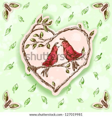Birds in love postcard