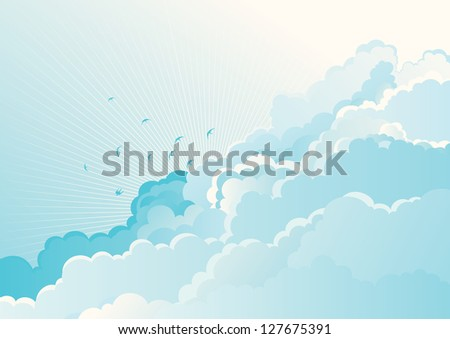 Birds in the cloudy sky. Vector blue  background with flying Swallows on cloudy sky