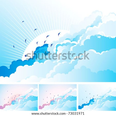Birds in the cloudy sky Vector blue  background with flying Swallows on cloudy sky.  Four kind.