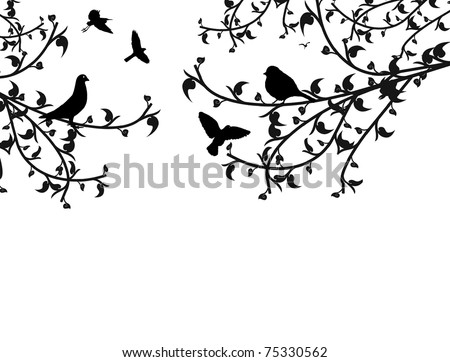 Birds in the tree and flying, vector illustration