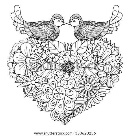 birds kissing on floral heart