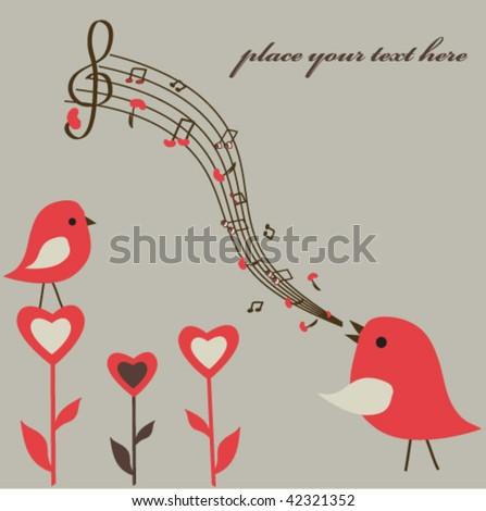 Birds love song. Vector.