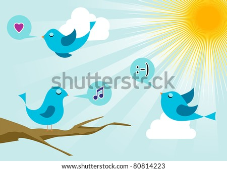 birds morning communication. Social media network connection concept - stock vector