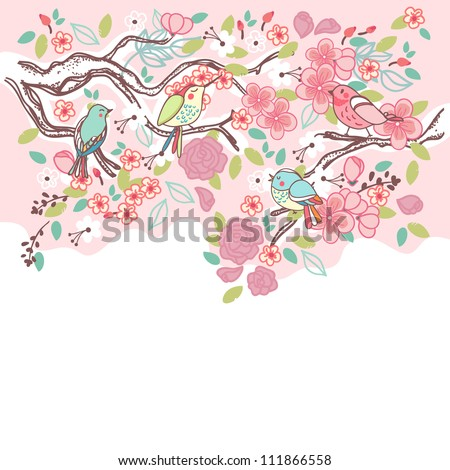 birds on a blooming tree
