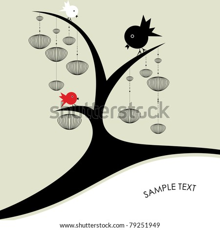 birds on a tree   vector