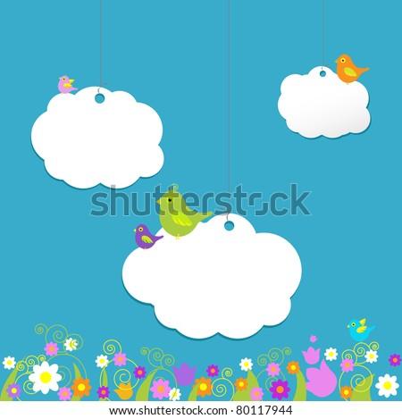 Birds On Clouds, Vector Illustration
