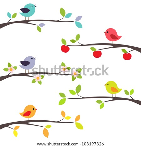 birds on different branches