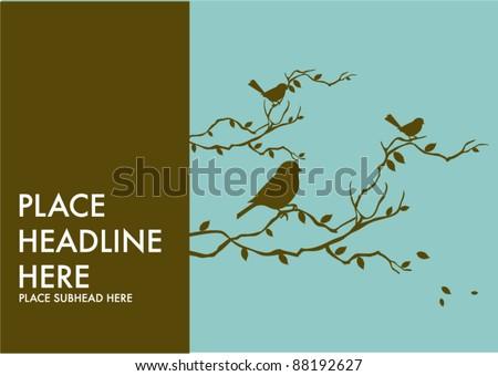 birds on tree branch template vector/illustration