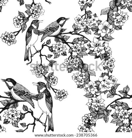birds on tree spring twigs