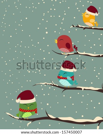 Stock Photo Birds on trees. winter scene
