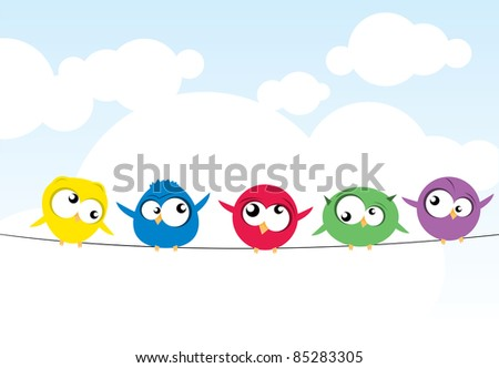 birds on wire - stock vector