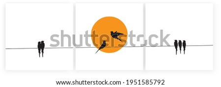 Birds on wire and flying birds silhouettes on sunset, vector. Scandinavian minimalism art design. Birds illustration isolated on white background. Wall art, artwork, poster design. Freedom concept