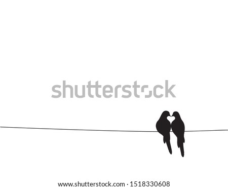 Birds On Wire Silhouettes making heart Vector, Minimalist poster design isolated on white background. Scandinavian design. Wall Decals, Art Decor, Birds Silhouette, Two birds in love, birds couple,