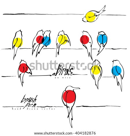 Stock Photo Birds on wire vector, various birds silhouettes made with ink pen, singing and chirping birds are marked with different colors. Spring background.