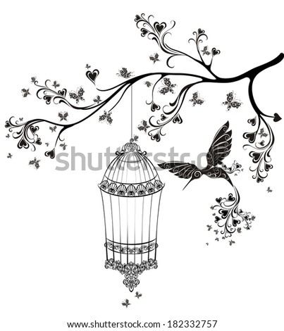 Birds out of cages Spring birds flying on the branch Vector illustration