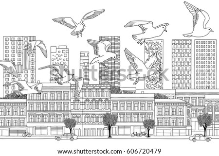 birds over oslo   hand drawn