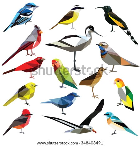 birds set colorful low poly