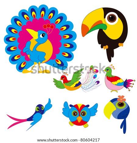 birds set  phoenix  swallow