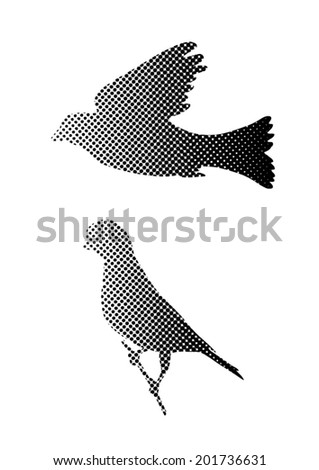 birds silhouette halftone