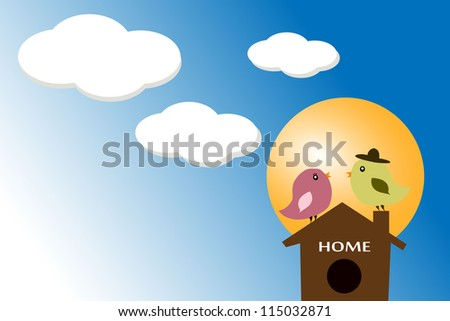 birds stand on the house  blue sky background